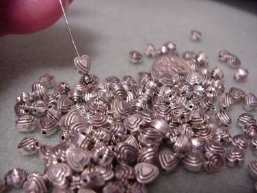 Heart Charms 6mm Silver 3D Drop.Componant  Jewelry Supplies, Beading Supplies, DIY