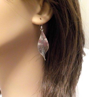 Leaf Earrings SILVER METAL w/Sterling Silver Ear Wire @VillageBeadShop