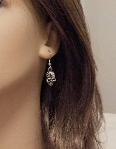 Skull Earrings Antique METAL Silver Excellent Quality! @VillageBeadShop