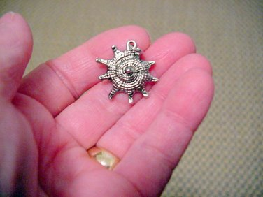 Silver Snail Pendant, Charm,w/Jump Ring, Nautical, 26mm Jewelry Supplies, Beading Supplies, DIY