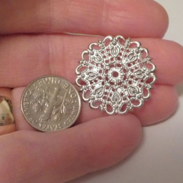 Silver Filigree Connector 25x1mm Round SHINY Jewelry and Beading Supplies, DIY