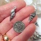 Silver Conch Charms, Antique, 23 x 8mm, Metal, Nautical, Beach, Jewelry , Beading Supplies, DIY