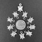 Turtle Charms 1O x 9mm Silver Nautical Beach Charms Jewelry Supplies Bead Supplies DIY