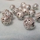 FILIGREE Butterfly Beads SILVER 15mm Metal Round Jewelry Supplies, Beading Supplies, DIY