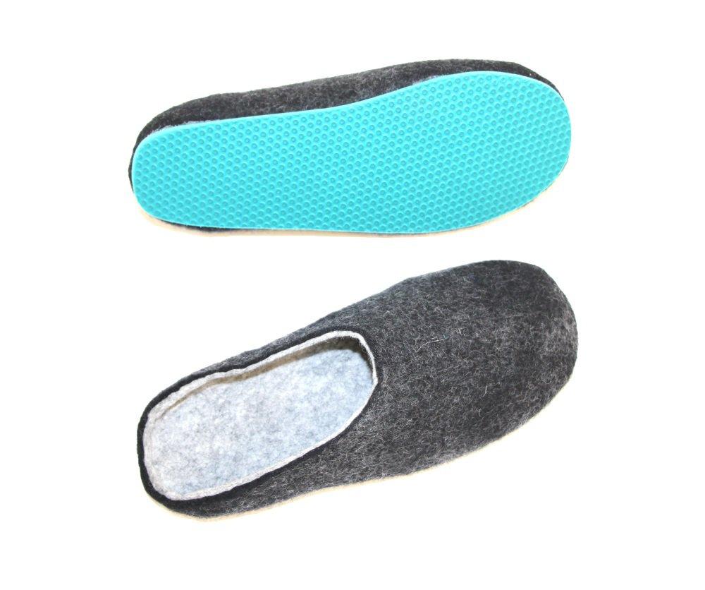 Women's felt wool slip-ons Charcoal Aqua Rubber Soled