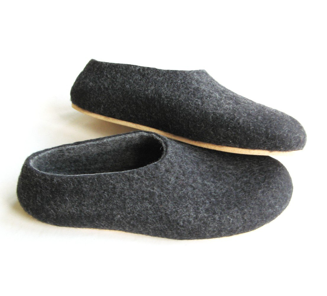 Men's felt wool slip-ons Charcoal Cork Soled. Best seller