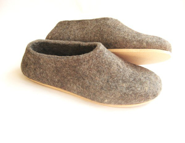 Women's felt wool slip-ons Pure Brown Cork Soled
