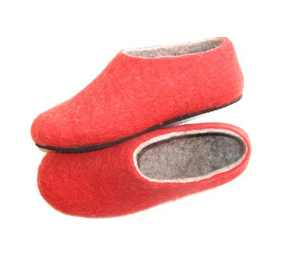 Women's felt wool slip-ons Red Grey Rubber Soled