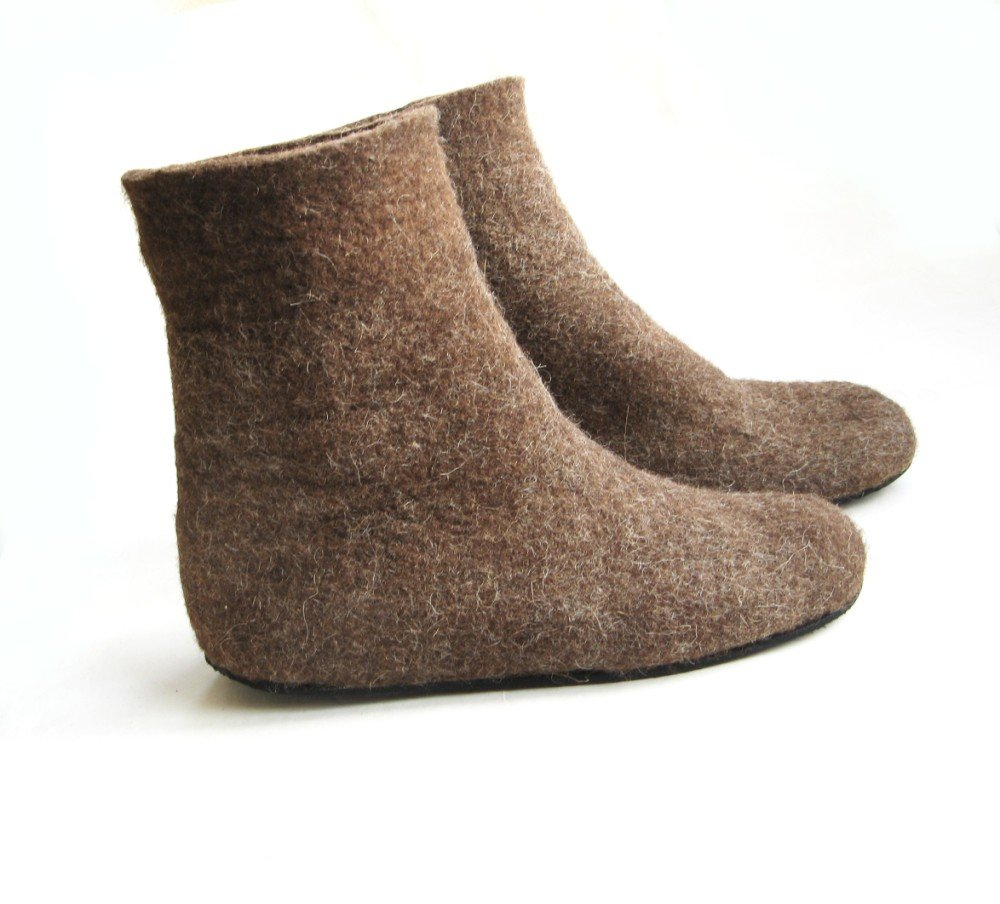 Women's felt wool Boot Pure Brown Rubber Soled