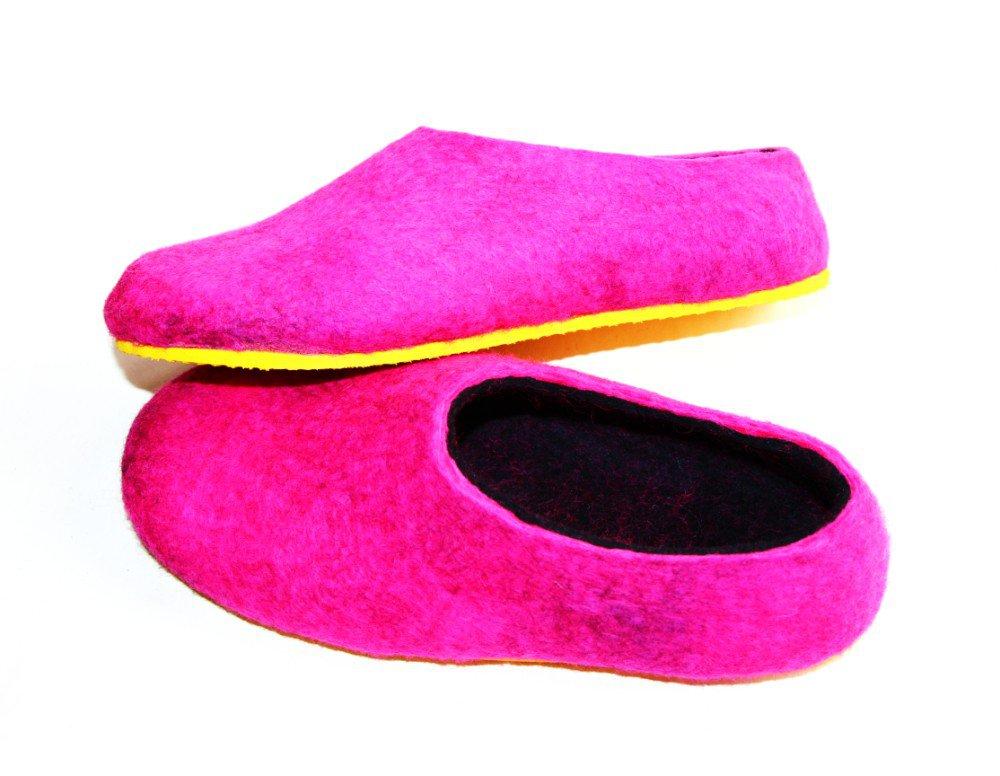Women's felt wool slip-ons Pink Yellow Rubber Soled