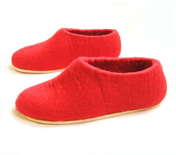 Women's felt wool slippers Red Cork Soled