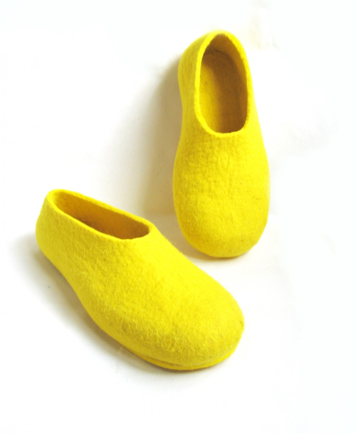 Men's Wool Slippers Yellow Mellow Rubber Soled. All sizes
