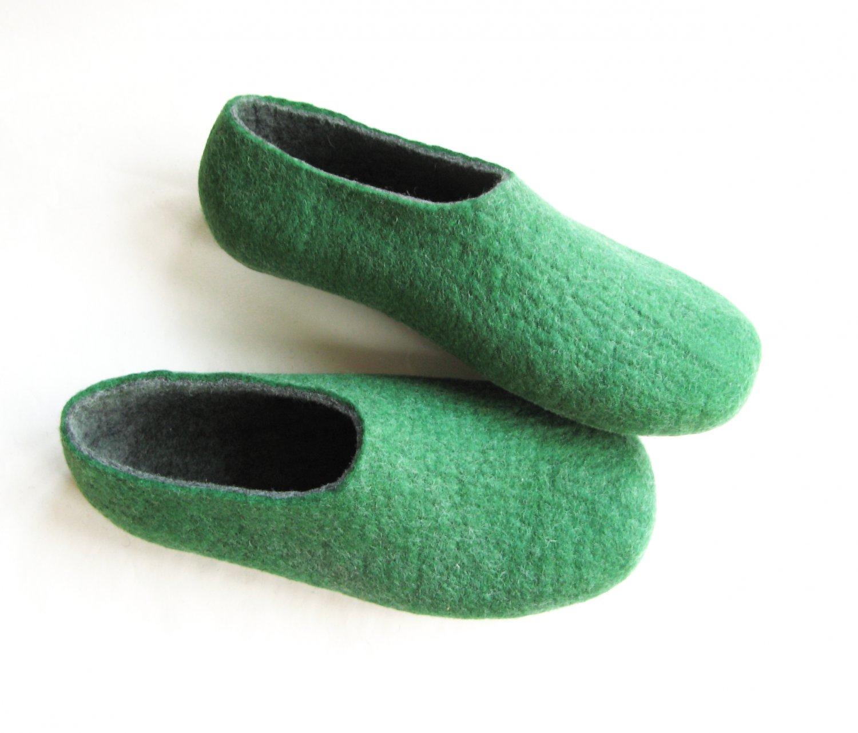 Men's Wool Slippers Green Gray. All sizes for Men