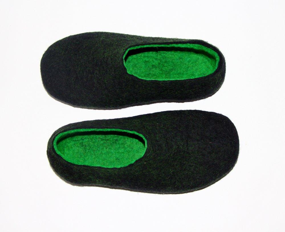Men's Wool Slippers Black Green. All sizes for Men