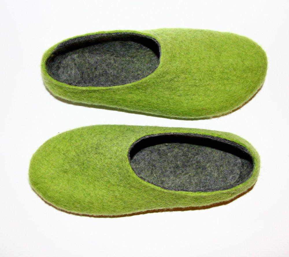 Women's felt wool slippers Apple Green Gray