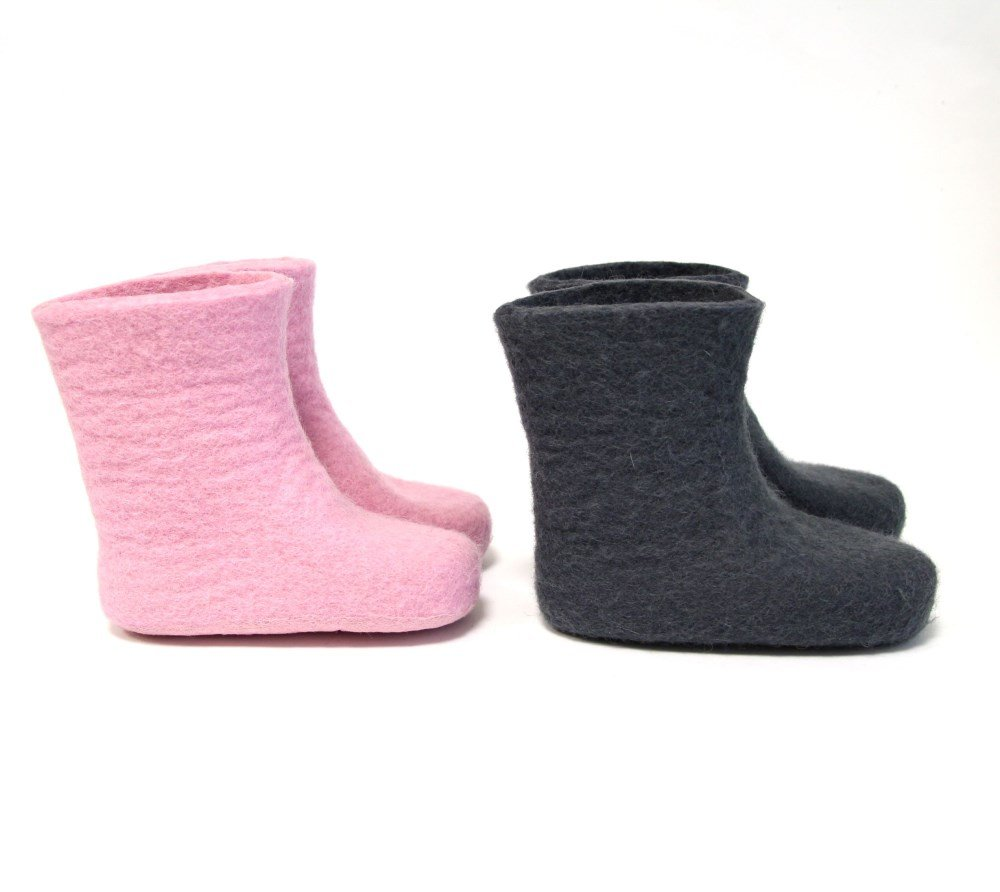Wool Felt Kids Boots Mix Match Wool Color Rubber Sole