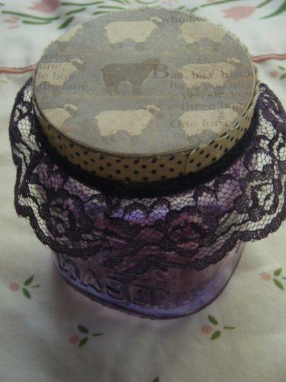 Baa Baa Black Sheep Lace Shabby Chic Jar Stained Glass Purple Blue Polka Dots Baby