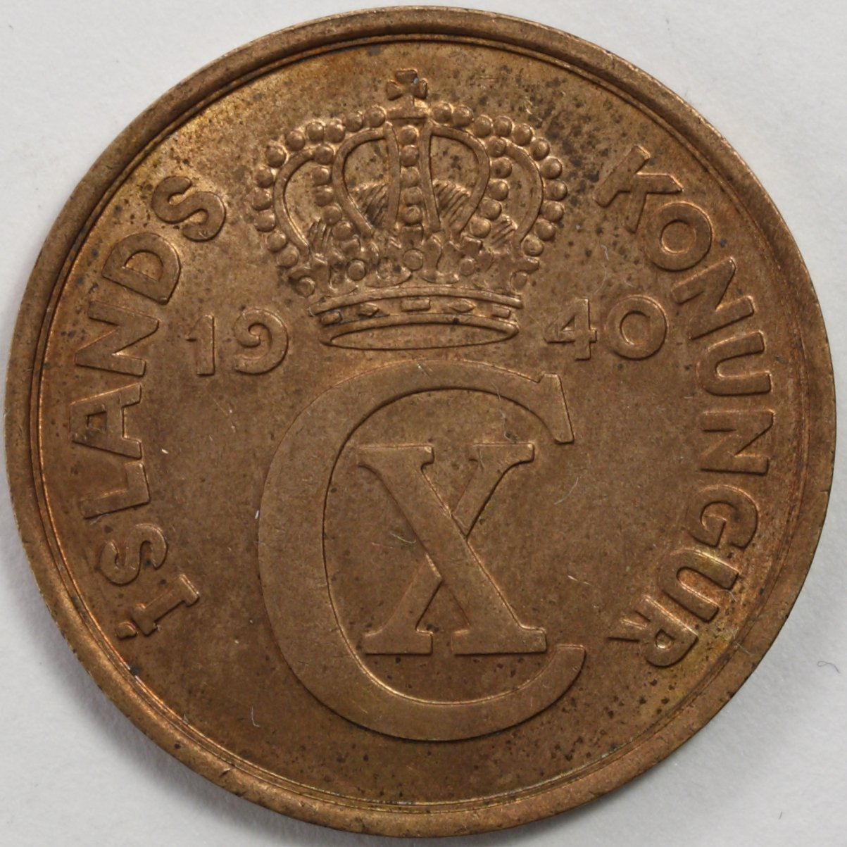 1940 Iceland 5 Aurar Coin