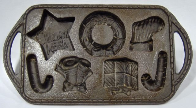 Cast Iron Christmas Treasures Cookie Mold