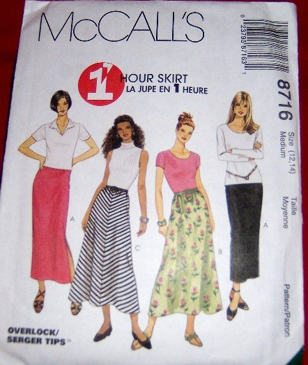 McCall's 8716 1 Hour Skirt Size 12, 14 Sewing Pattern