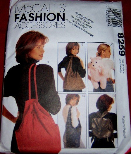 McCall's 8259 Fashion Purse Backpack Shoulderbag Sewing Pattern