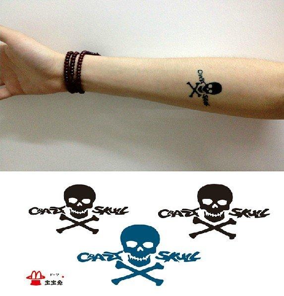 Skull temporary tattoo, fake tattoo sticker