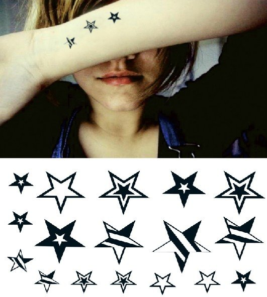 Star temporary tattoo, fake tattoo sticker
