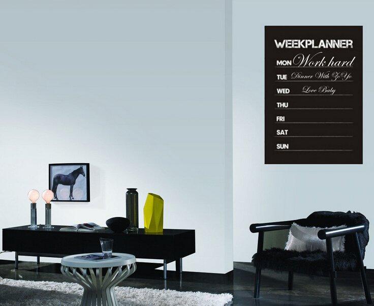 Week planner timetable blackboard decal