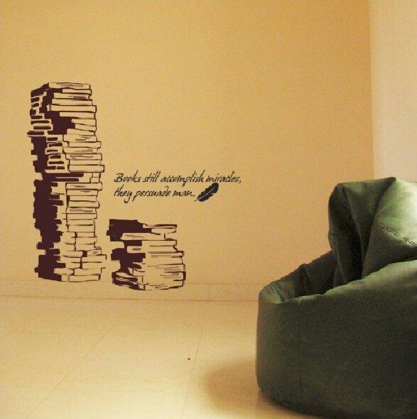 Wallpaper wall stickers book shelves