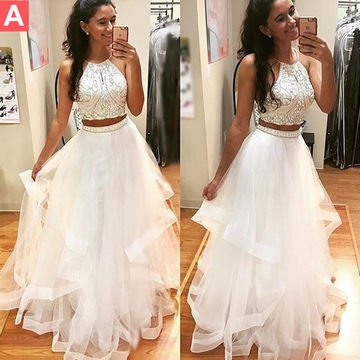 Shimmering White Layered Prom Dress