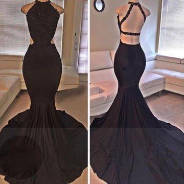 Black Beading Mermaid Satin Prom Dress With Spegetti Straps