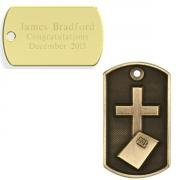 Cross and Bible 3D Dog Tag with Engraved Message