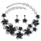 Black, Grey and White Ombre Crystal 2-piece Flower Bib Necklace and Earring g Set in Silver Tone