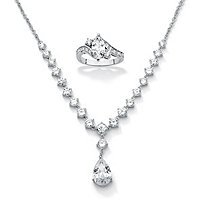 2.49 TCW  Cubic Zirconia Ring and Necklace Sterling Silver