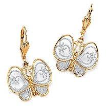 18k Gild Plated Two Toned Filigree Butterfly Drop Earrings