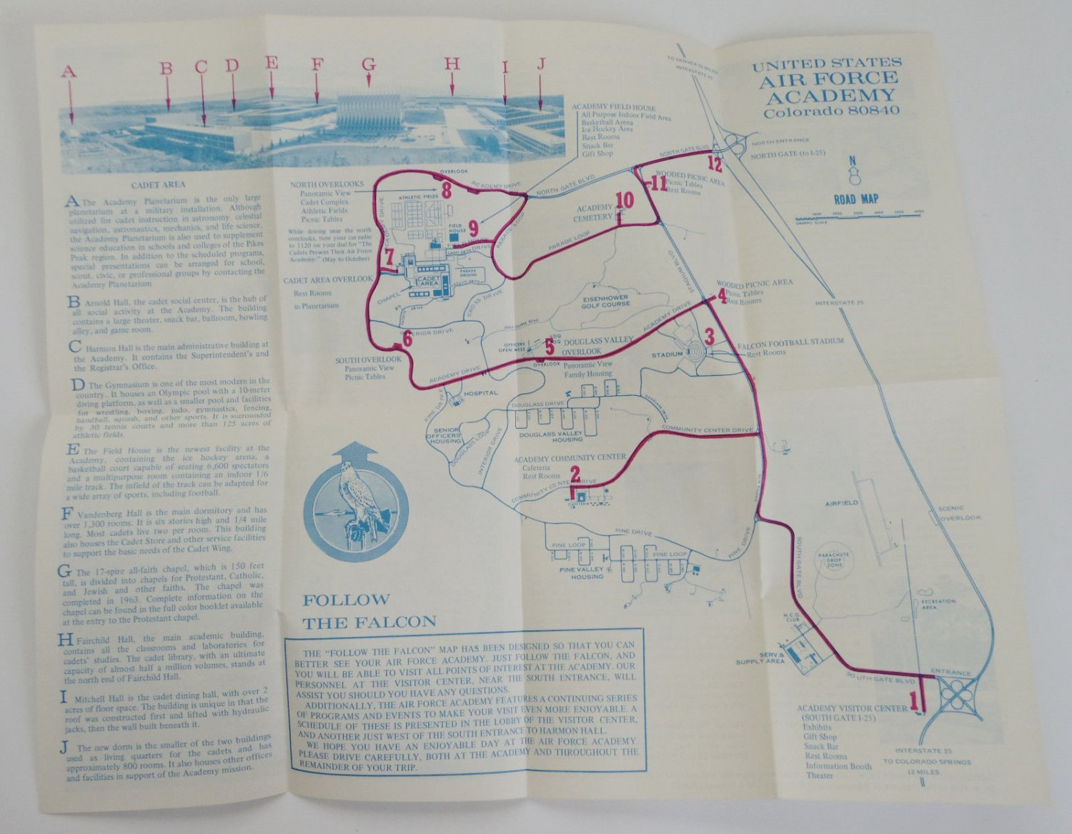 Vintage S US Air Force Academy Colorado Fold Out Map - Fold out map of the us
