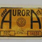Vintage 1960 Aurora Ill. Vehicle Tax Windshield Decal