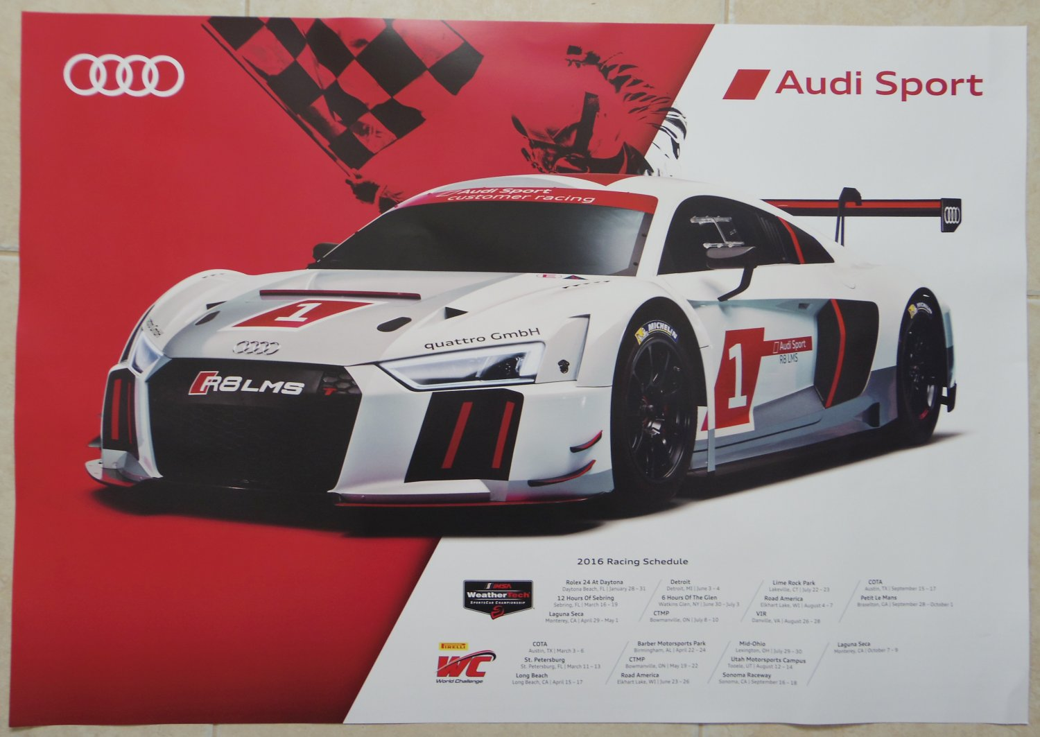 2016 audi sport r8 gtlm poster audi racing wec le mans audi poster. Black Bedroom Furniture Sets. Home Design Ideas