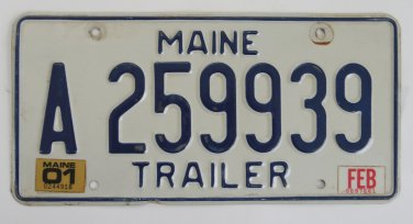 Maine Trailer License Plate