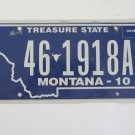 2010 Montana Treasure State License Plate