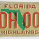 Original Highlands County Florida License Plate