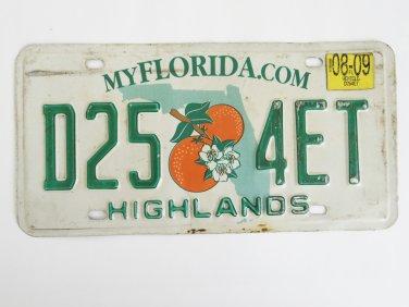 Florida Orange Blossom License Plate D25 4ET