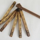 Vintage 72 Inch Folding Wood and Brass Rule