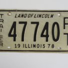1978 Illinois Land of Lincoln Trailer License Plate