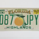 2005 Florida Orange License Plate