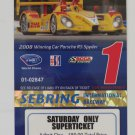 2009 ALMS 12 Hours of Sebring Raceway Super Ticket Porsche RS Spyder