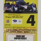 2011 Mobil1 12 Hours of Sebring Super Ticket Peugeot 908 ALMS IMSA