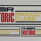 HSR Historic Production Class Stickers Vintage Sports car Racing