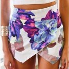 Floral Print White Irregular Skort Skirt Shorts - S