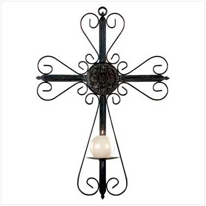 Wall Cross Candle Holder
